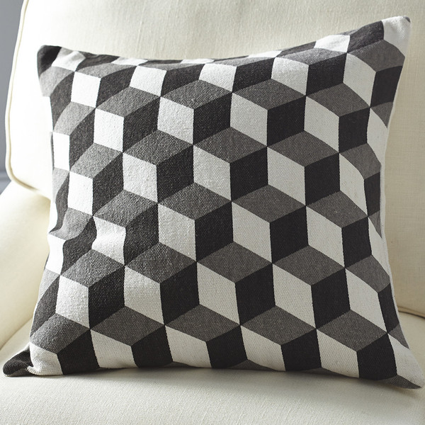 Gray Cube Pillow Cover