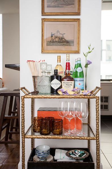 How to Work a Bar Cart Into Your Small Space - Decorating - Lonny