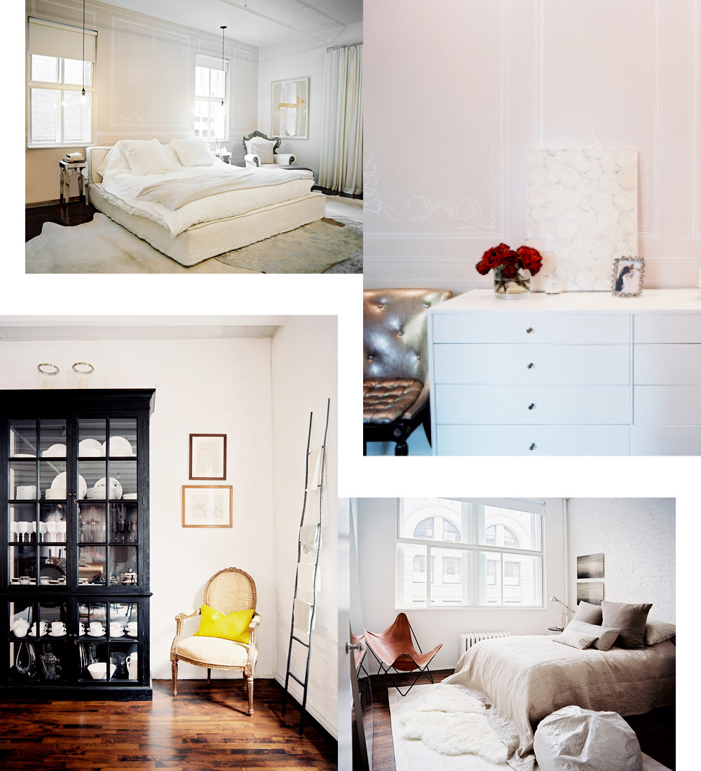 "Clockwise from top left: Mellett describes the master bedroom as ""romantic and soft."" Instead of an area rug, he layered several rugs throughout the space to add texture; the wallpaper, designed by Mellett, is reminiscent of French paneling. The chaires are covered in ""fashion"" leather; decorating the apartment was a collaborative effort between Mellett and his client, who chose the furnishings for the guest room; the client stores a collection of dishware, including Reichenbach silver-dipped teacups and Serax vases, in the glass-front hutch."
