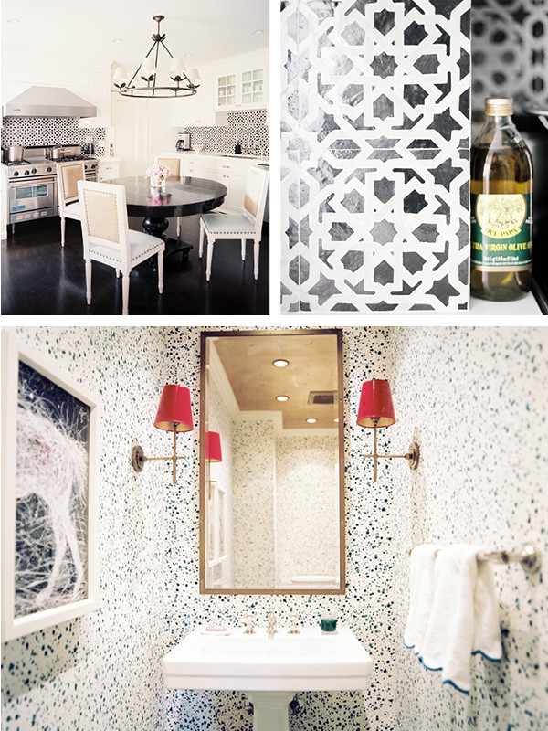 Above: Moroccan-style ceramic tiles supply a pleasing jolt of aesthetic energy to an elegant eat-in kitchen. Below: Hinson & Company's riotous splatter-print wallpaper and a pair of imerial-red-lacquered lampshades transform an intimately proportioned powder room into a work of art.