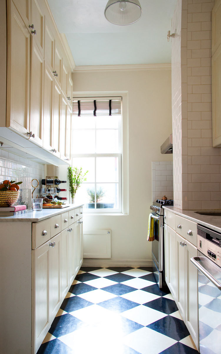 The kitchen's black-and-white tile is one of Ulrey's favorite features.