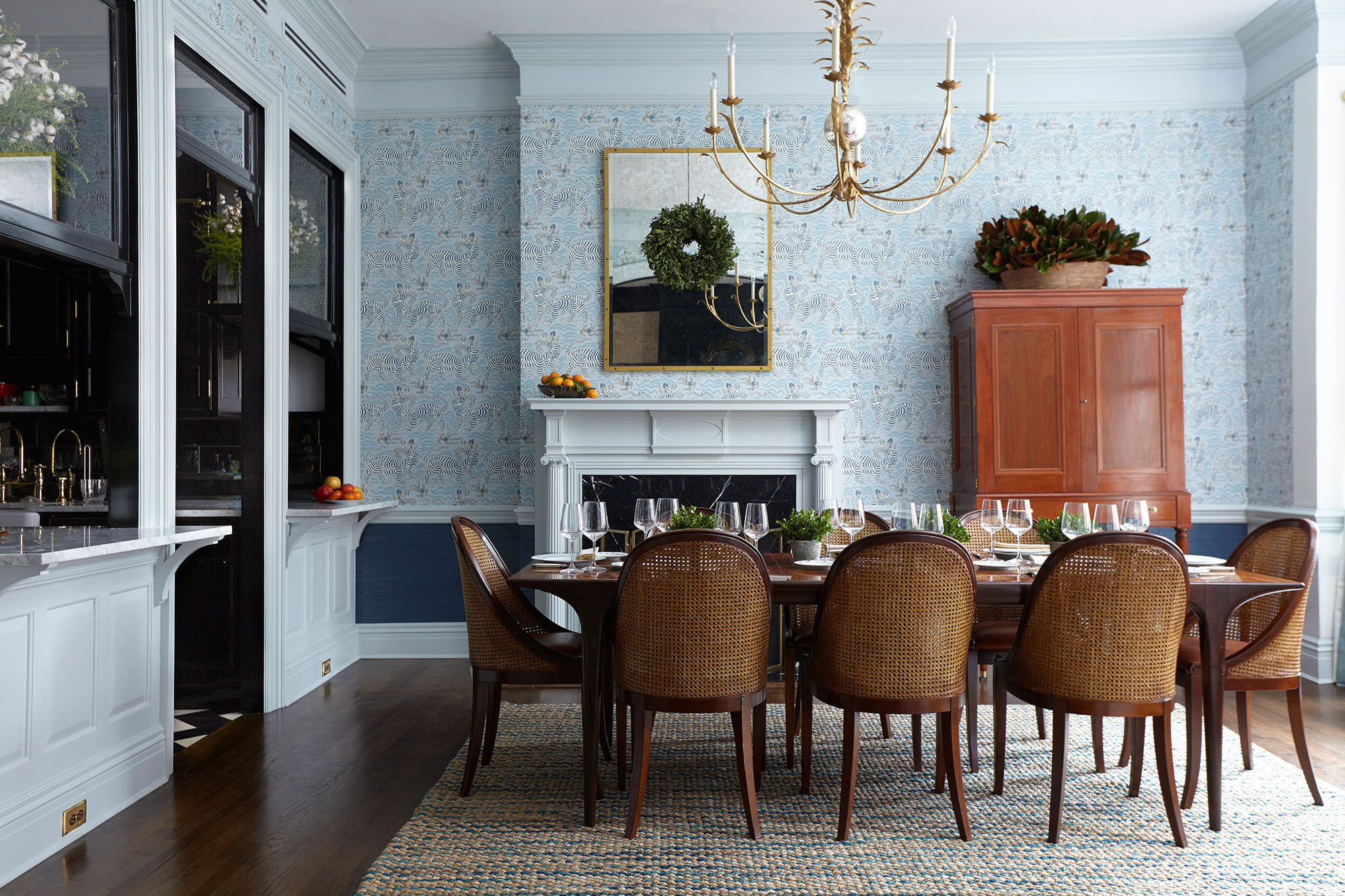 The elegant dining room in Alex and Oliver Wight's Brooklyn Heights, New York, home, designed by David Nastasi and Kate Vail.