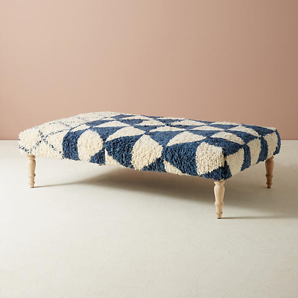 Anthropologie Shag Carpet Ottoman