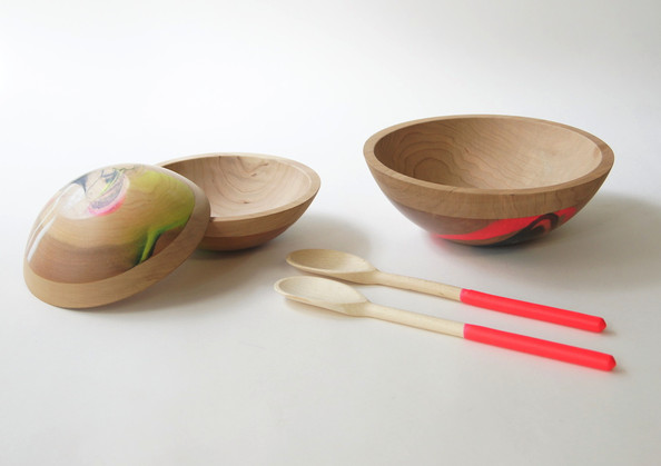 Neon Swirl Salad Set by Wind & Willow Home