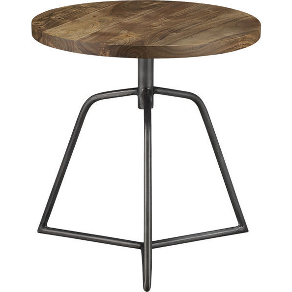 wood stool with metal base