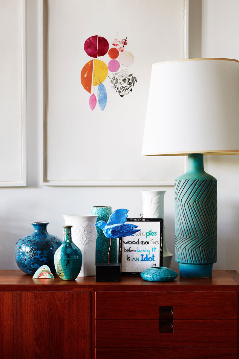 Meaningful collections are grouped into vignettes throughout the couple's home.
