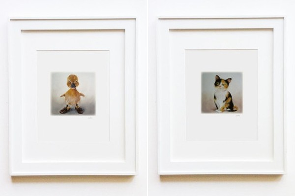 Matted duck and baby cat prints, $ 17 each.