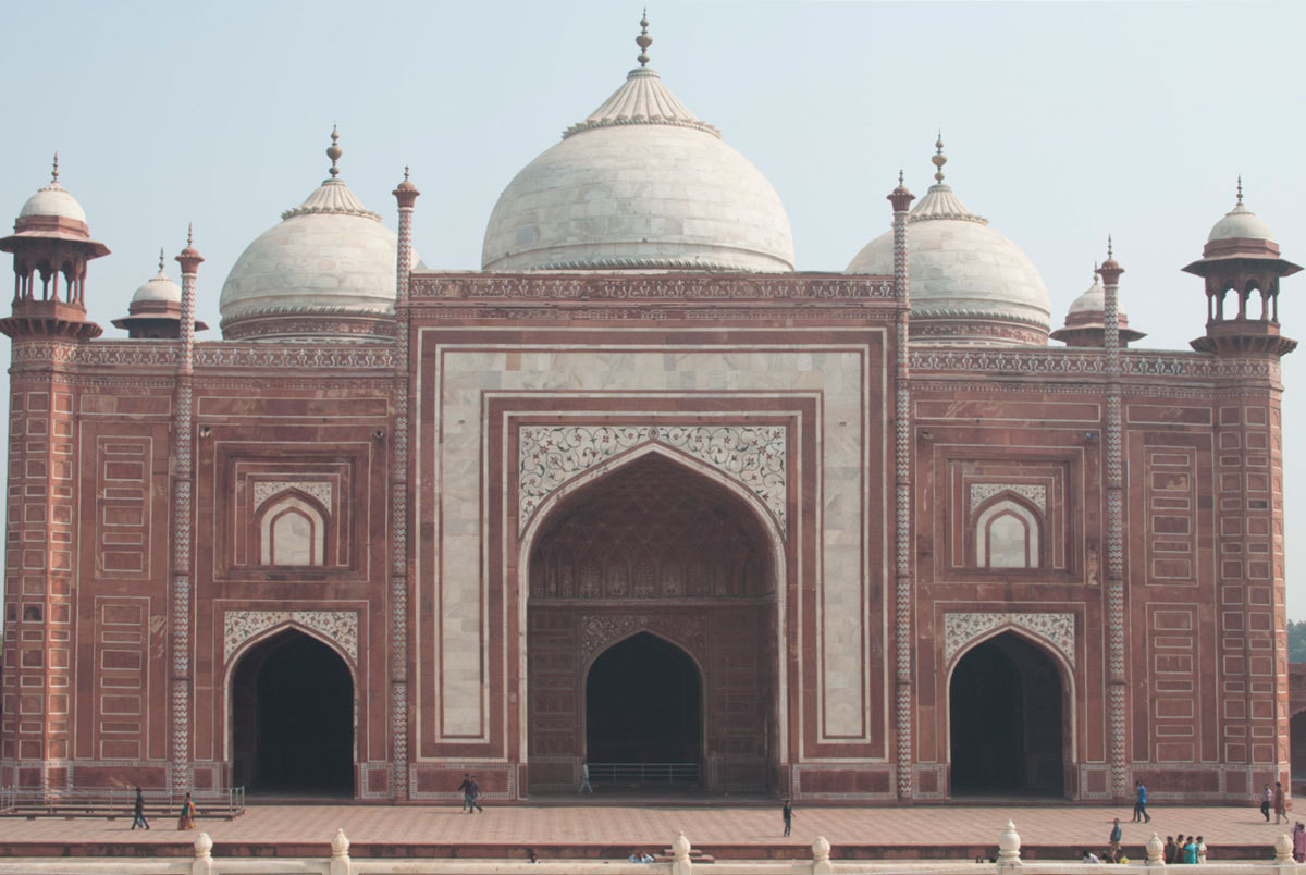 The facade of the Agra Fort served as one enduring musefor Birch Lane's new, India-influenced summer collection.