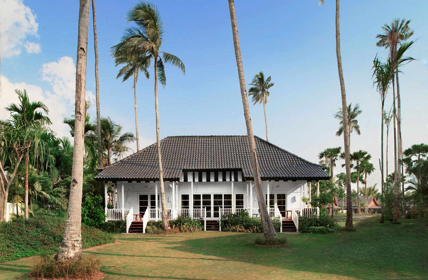 "Exteriors were inspired by the traditional ""black and whites"" (colonial bungalows) found in Malaysia and Singapore."