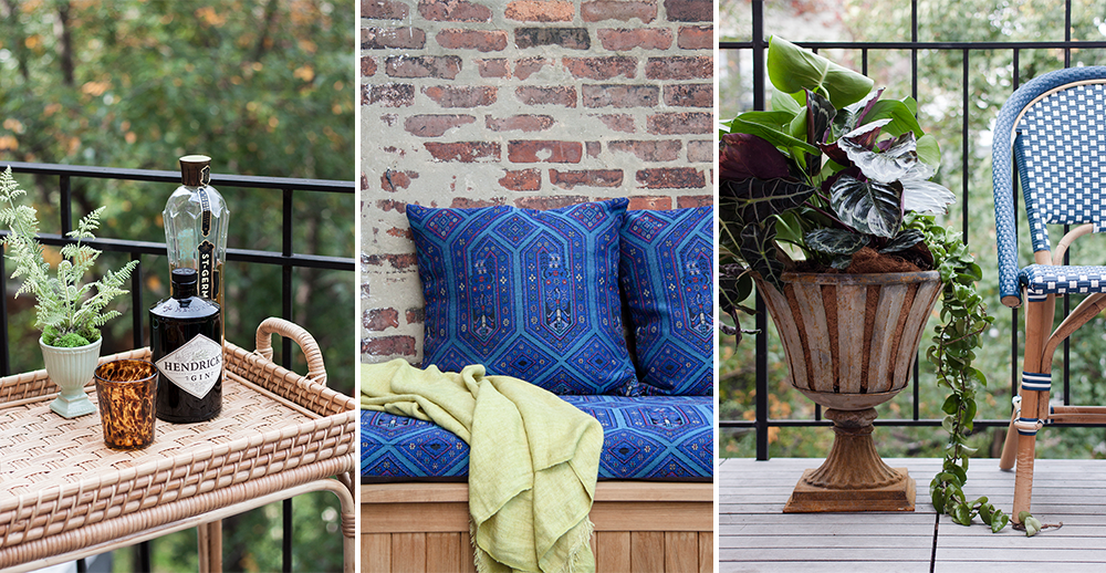 Deckside vignettes include a Serena & Lily rattan bar cart, a seating area upholstered in Beacon Hill outdoor fabric, and a rustic urn by Terrain spilling with Costa Farms plants.
