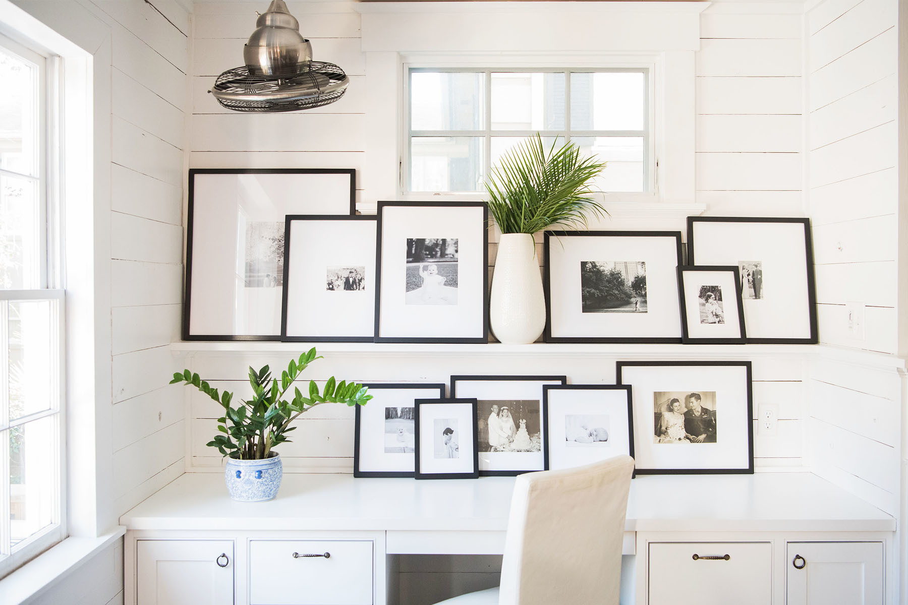 """I love white walls because it allows me to play with my artwork. I go through serious design phases, too,"" says the designer. West Elm Gallery Frames 