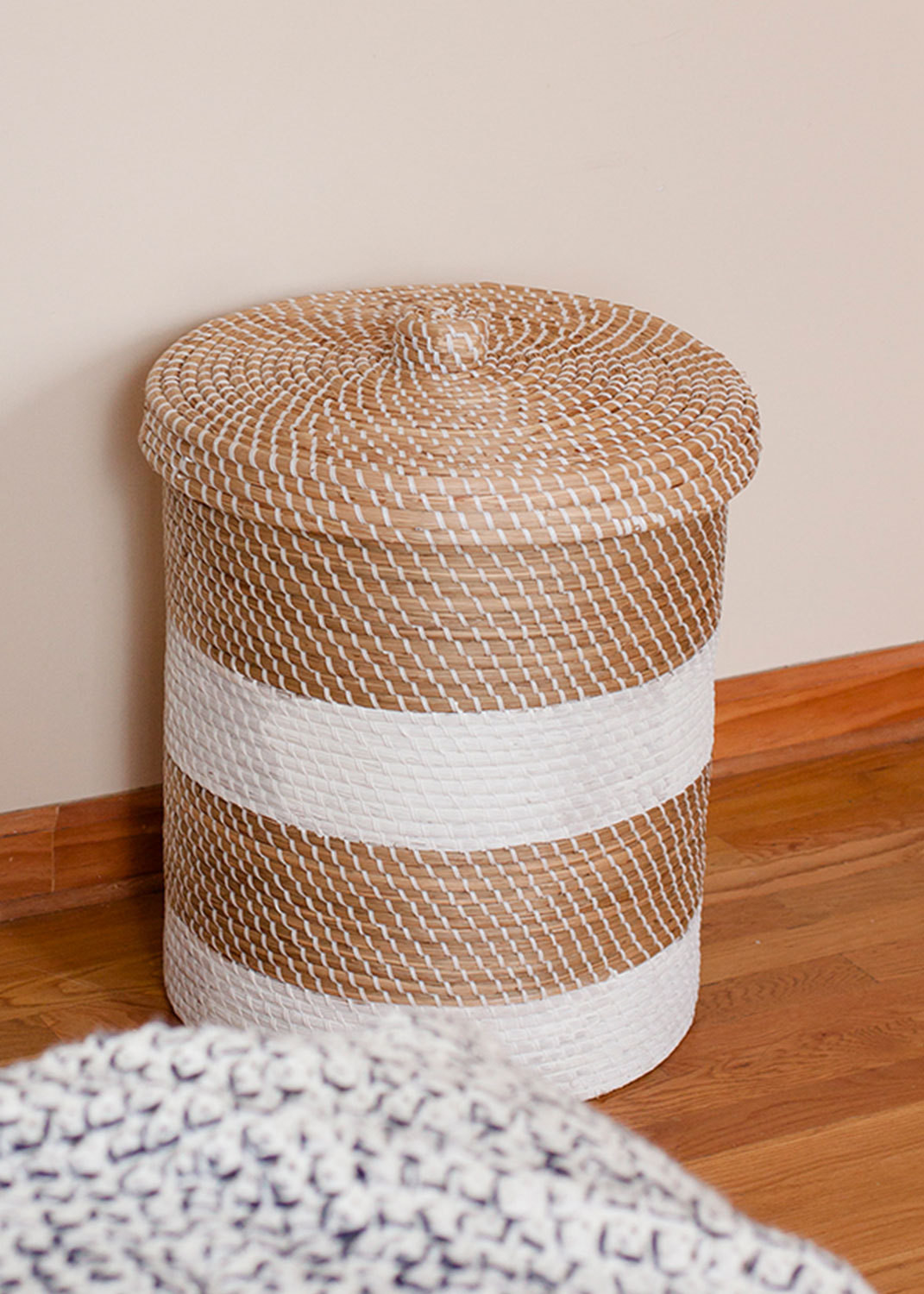 """A<a  target=""""_blank"""" href=""""http://www.zarahome.com/gb/en/decoration/baskets-c1090527p4228089.html"""">Zara Home</a>basket adds a hit of texture to one corner."""