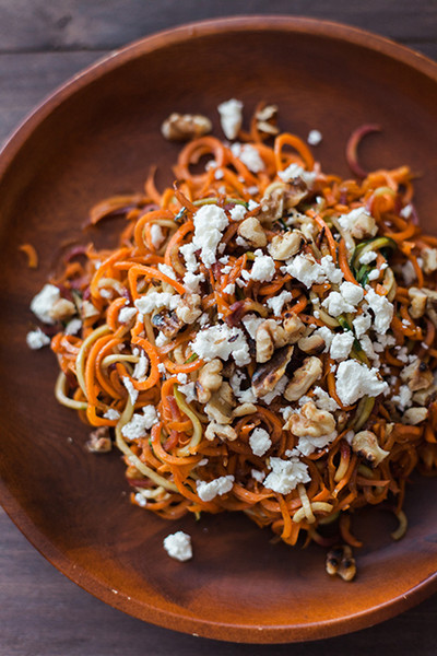 Roasted Spiralized Carrot, Feta, And Toasted Walnut Salad