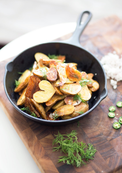 Roasted Fingerlings With Shallot, Serrano Chili And Lemon Crème Fraiche