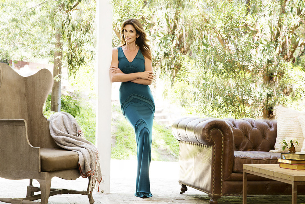 Cindy Crawford in Roberto Cavalli at the Malibu ranch of Urban Remedy investor Mike Jones. Fashion styling by Rita Rago. Hair by Richard Marin for Cloutier Remix. Makeup by Kelsey Deenihan for The Wall Group. Additional credits below.