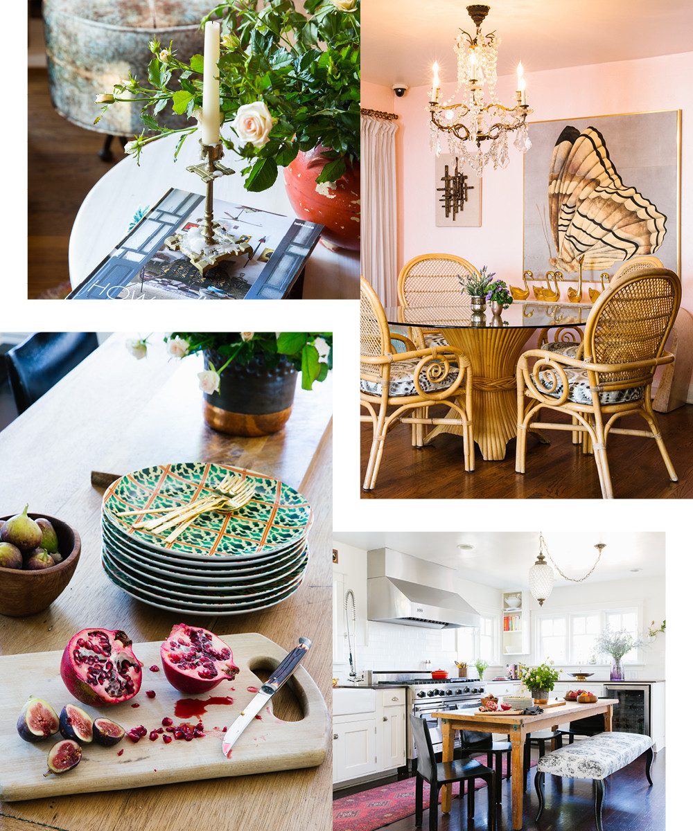 On her coffee table, Karras proudly displays the brand-new book How We Live by friend and photographer Marcia Prentice. A 1960s outdoor table is surrounded by reupholstered peacock chairs in the dining area. A vintage crystal pendant hangs above a rustic farm table in the kitchen. Colorful fruit is highlighted with equally vibrant tabletop pieces.