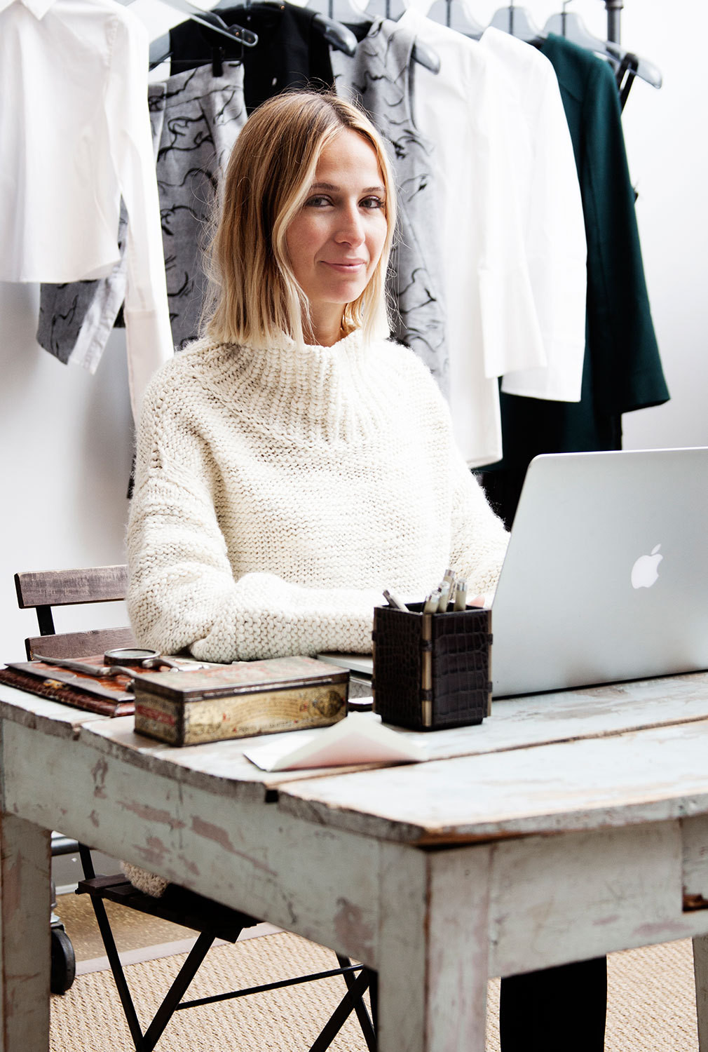 The designer at work in her headquarters in New York City's Garment District.