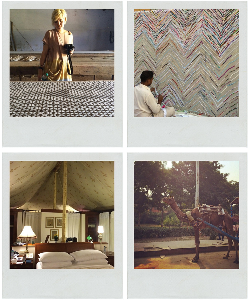 CLOCKWISE FROM TOP LEFT Kohanzo admires a block-print design. A craftsman handweaves a colorfulrug. Camels provide a traveler-friendly mode of transportation.The tented rooms at the Oberoi Rajvilas.