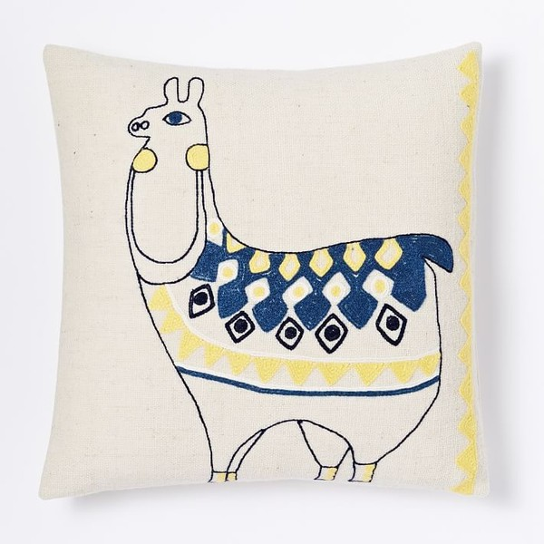 Embroidered Llama Pillow Cover