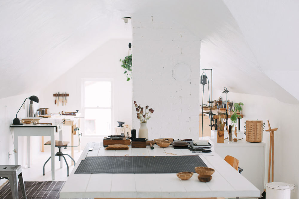 The Top Floor Home Studio Of Portland, Oregon, Jewelry Maker Hannah Ferrara.
