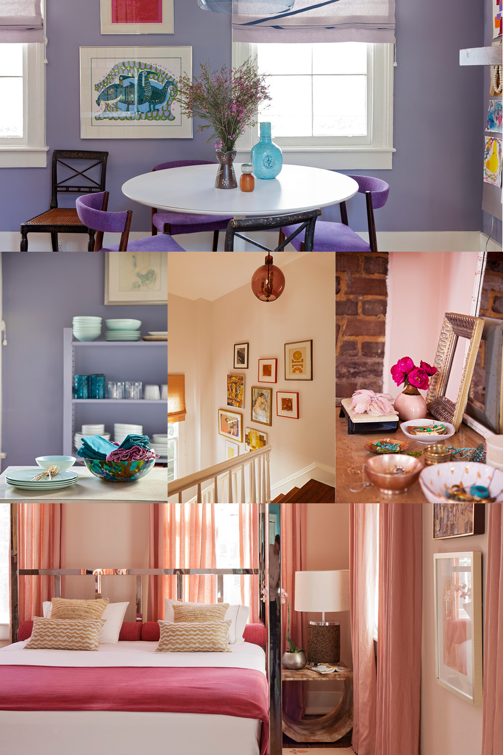 Paint proves transformative in the dining area, where luminous lavender walls play off purple Danish chairs. A palette shift in everything from textiles to artwork conveys a serene mood in the master bedroom.