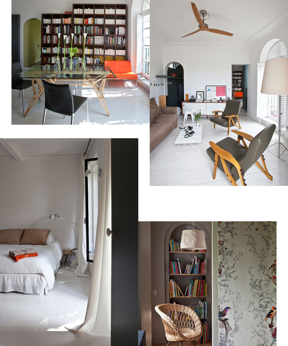 Clockwise from left: Mollino's neutral glass-topped dining table provides a soothing counterpoint to a bright-orange settee by Kartell. The living room features a subdued white-and-gray palette. Avian-themed wallpaper by Timorous Beasties in a bright alcove. The subdued color palette continues in the whitewashed master bedroom.