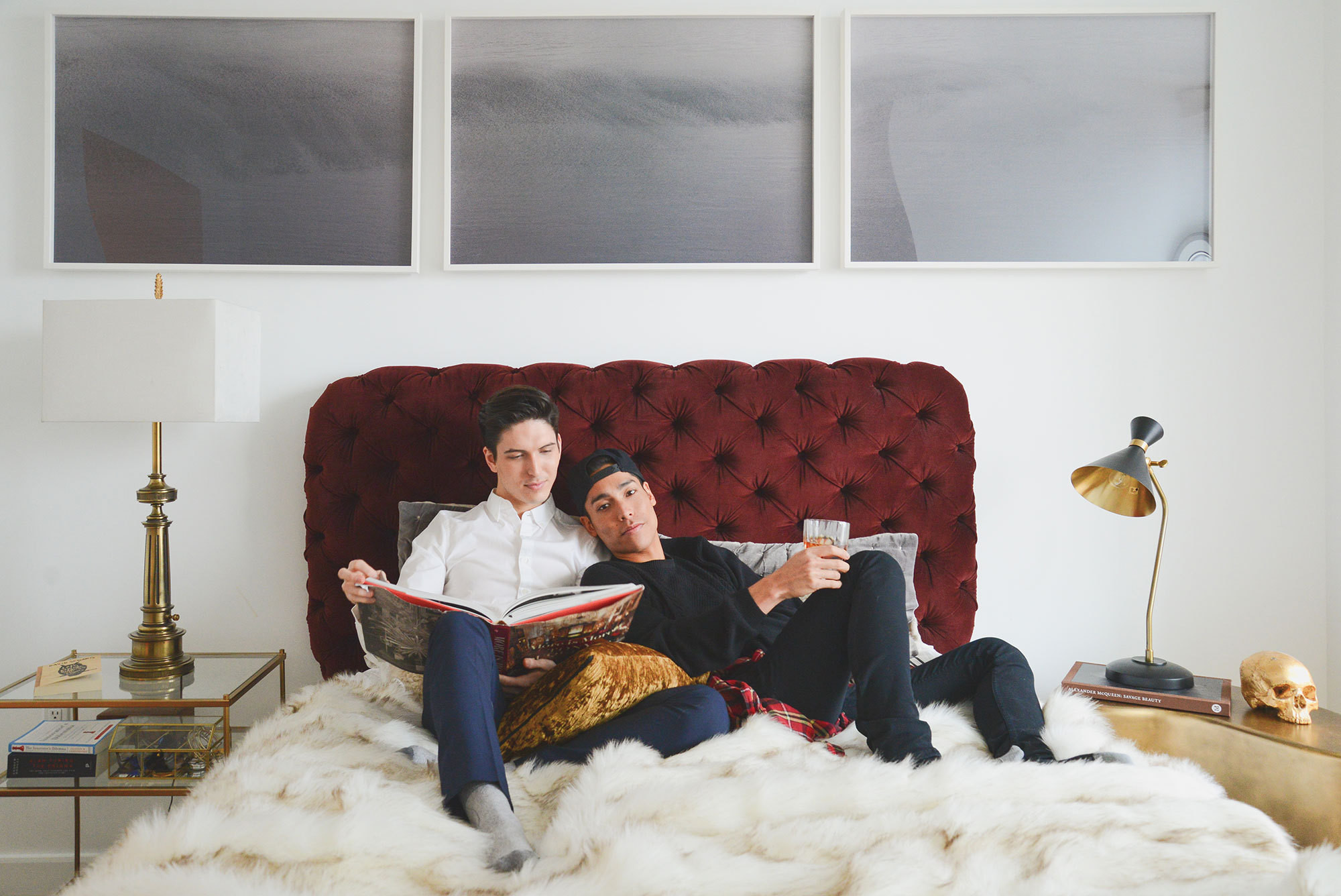 Santos and boyfriend Ross Matsubara kick back in their new fur-covered bed.