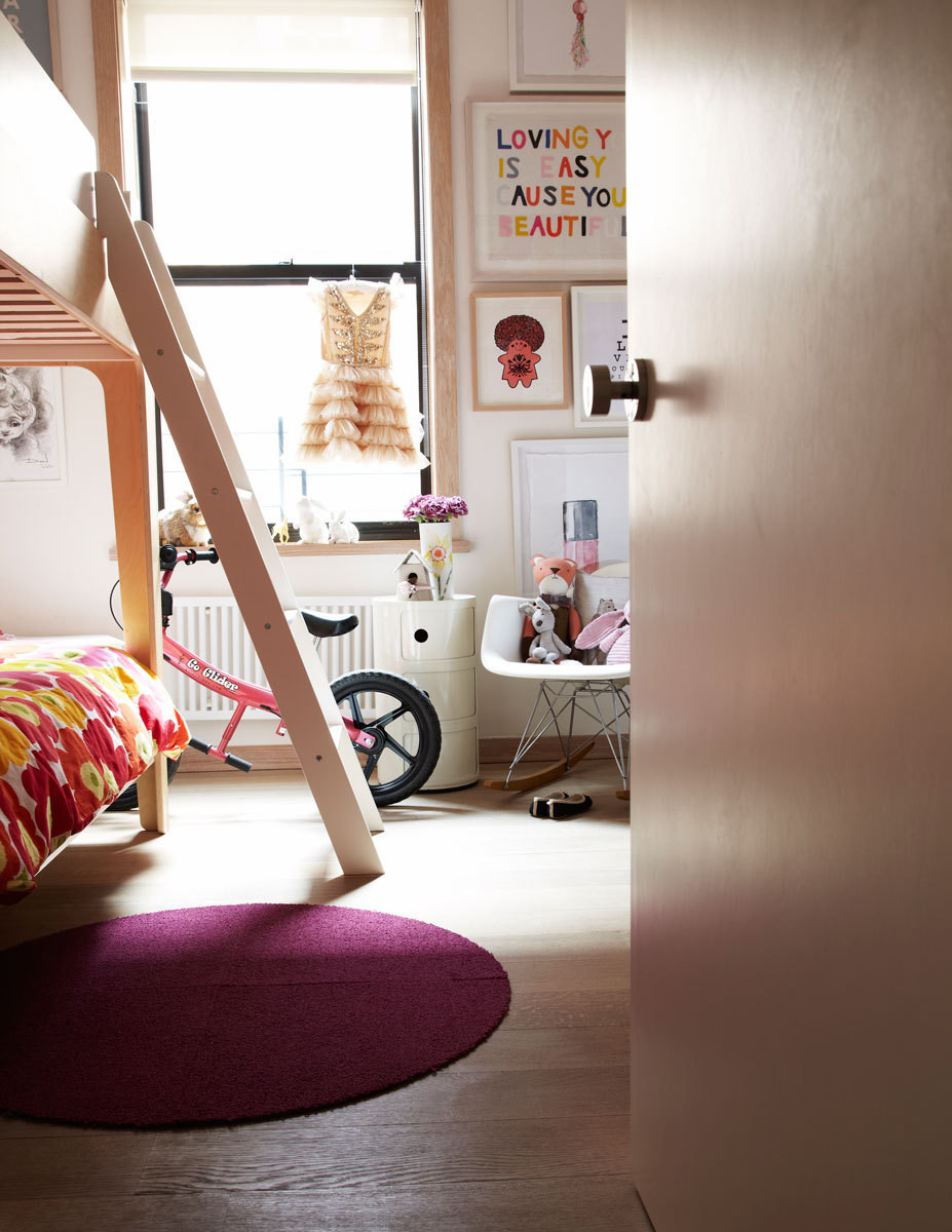 Daughter Pompie's room is accented with a cheerful Marimekko textile print.