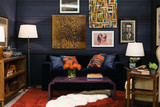 Citrus and royal blue Agua pillows in a lounge area designed by Anthony George Home for the 2014 Housing Works Design on a Dime show house.