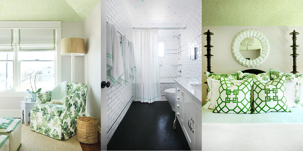 In the guest room, a leafy textile pattern spurs the decorating scheme. The children's bathroom, above center, brings in a similar mint-green hue.