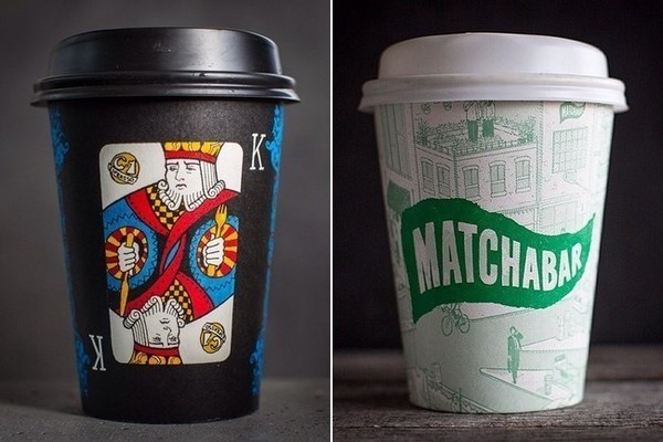 At right, a King motif from a deck of cards at C1 Espresso in New Zealand makes a regal statement. At left, Brooklyn's Matchabar boasts a cheery green-and-white design.