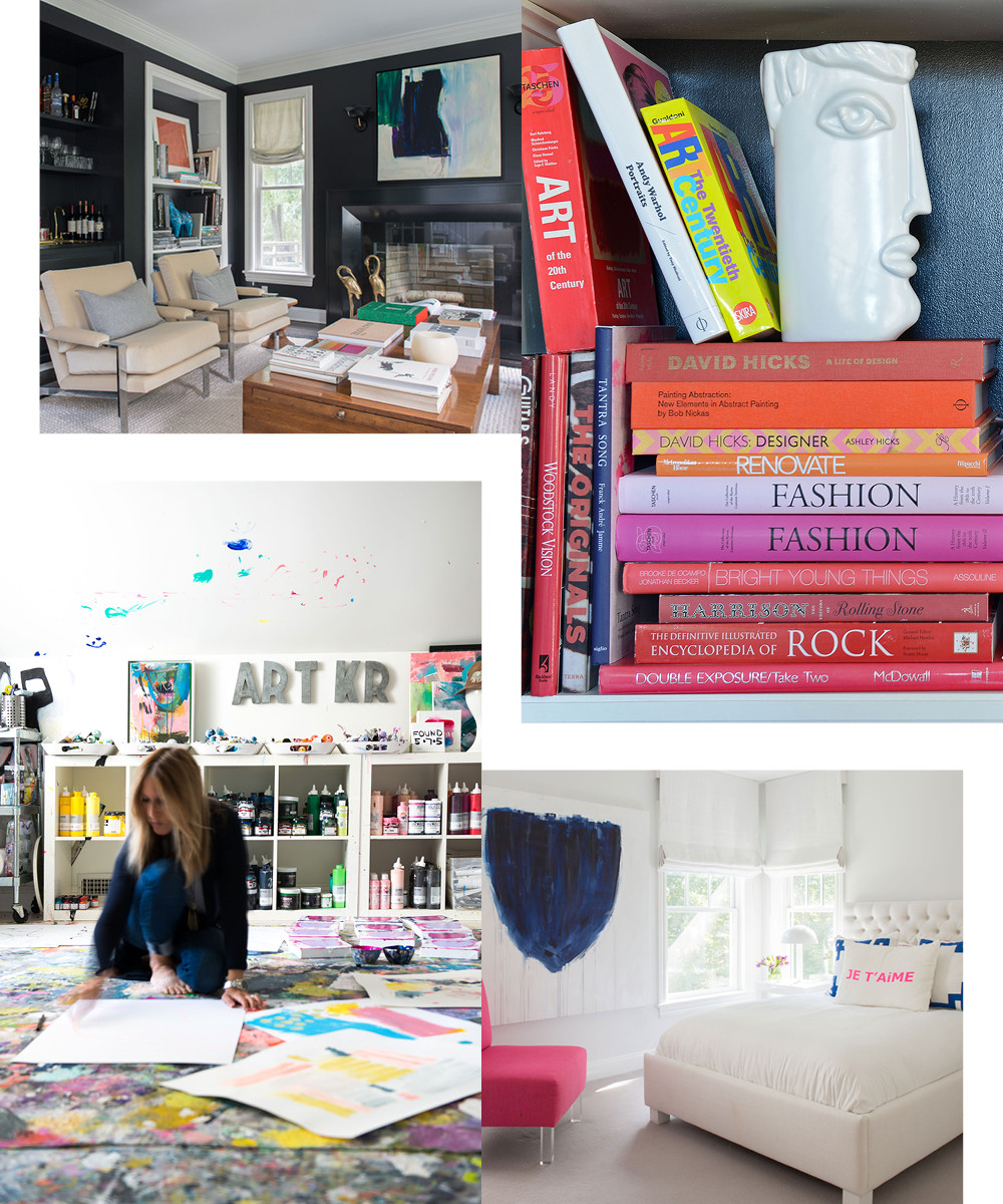 """I don&squot;t want every room to be the same,"" the artist says of her decision to paint a formal living room a glossy jet black. ""I love books,"" says Rosenthal. ""I like to decorate with them wherever I can."" She applied a navy, mint, and magenta color palette in her daughter Emma&squot;s room. Rosenthal converted an unfinished attic into a home studio where she paints much of her work."