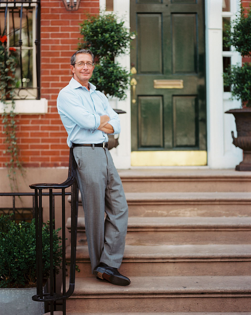 Shop owner Paul Caddell outside his West Village townhouse.