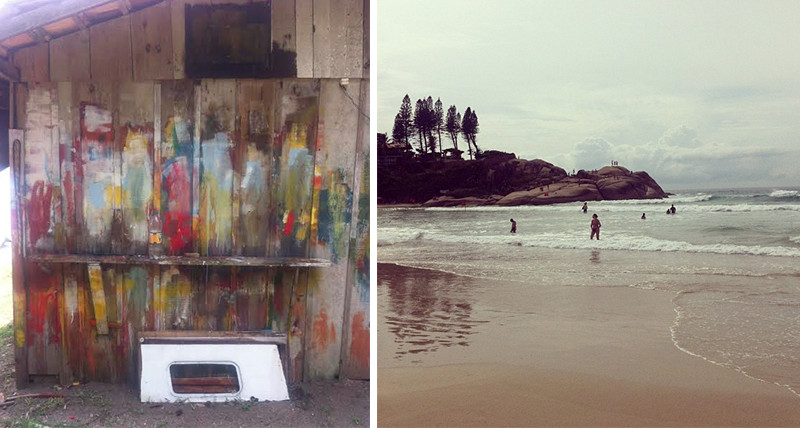 Two moments that influenced Gianacakos's collection: a painted barn wall and the shore of Florianapolis.