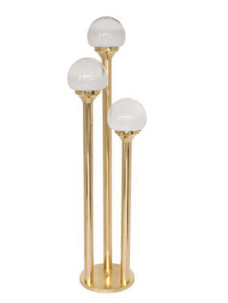 Mazzega 1970s Italian Brass Three-Globe Floor Lamp