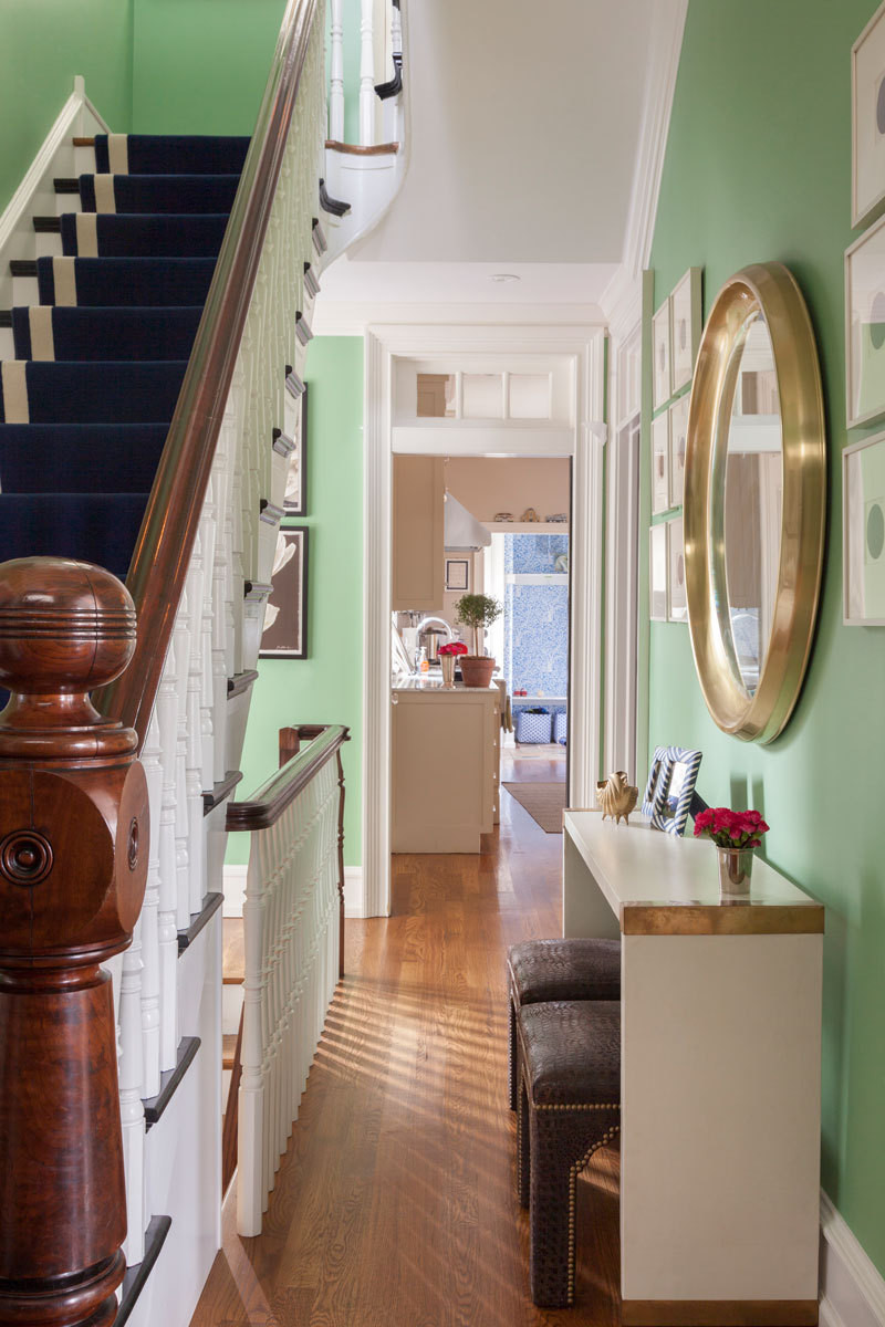 The entry hall sets up the dominant color palette.