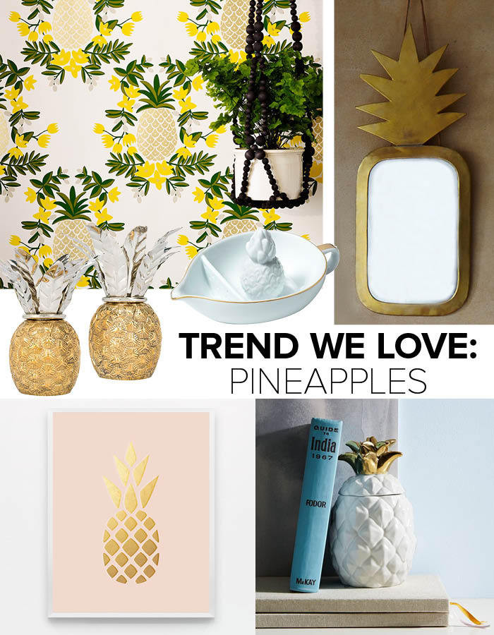 Clockwise from top left: Pineapple wallpaper in Sorbet by Rifle Paper Co.: $175 per roll, Hygge & West; brass pineapple mirror: $99, Plumo; pineapple-scented candle: $29, West Elm; The Blushing Pineapple print by Field Trip: $25, Great.ly; pineapple candlesticks: $275, Oscar de la Renta; pineapple juicer by Lilly Pulitzer for Target: $15, Target