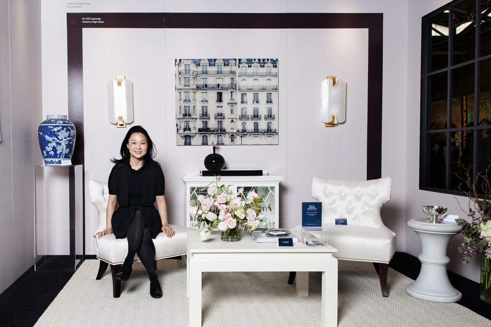 Interior designer Young Huh in the vignette she designed for the Viyet + Benjamin Moore booth at the 2015 AD Home Design Show.
