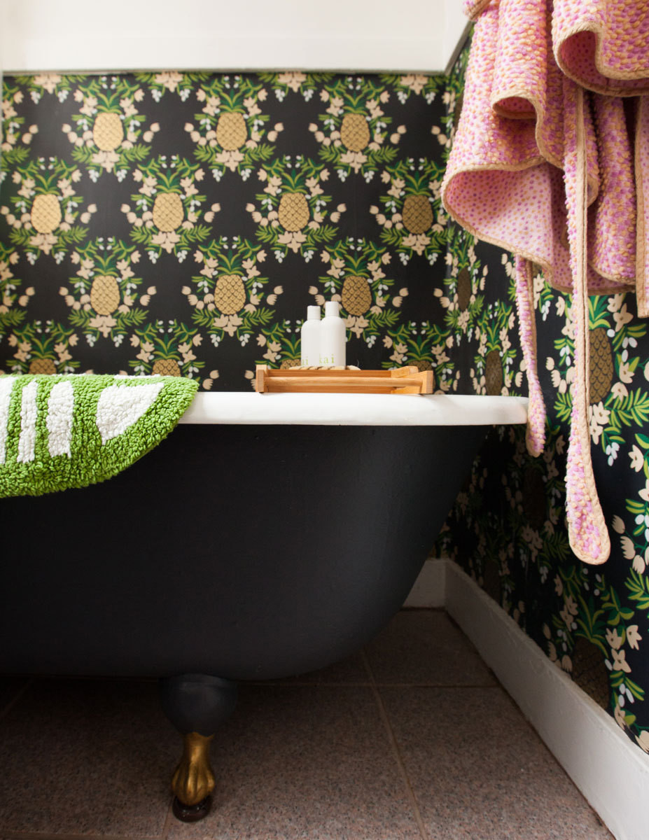 Rifle Paper Co.'s Pineapple presides over the bath nook.