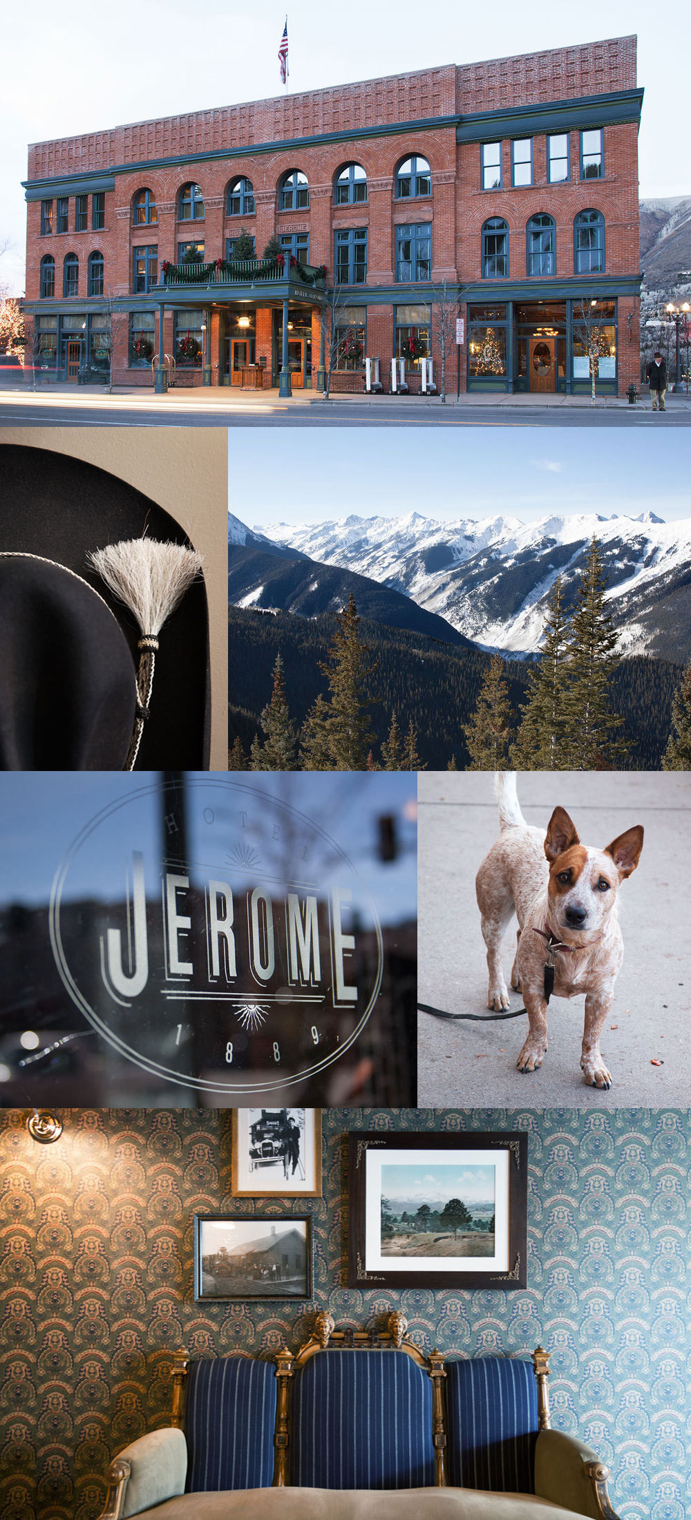 Clockwise from top: The hotel's Victorian façade. Rocky Mountain views. A furry neighbor. An antique settee in an elegantly wallpapered hallway. Hotel Jerome's logo. The hat worn by the hotel's bellhops.