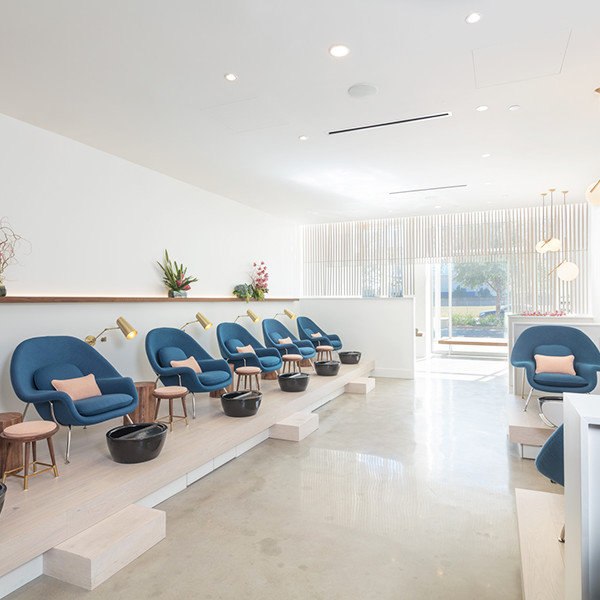 The best designed nail salons in the country lonny - Interior hair salon lighting ideas ...