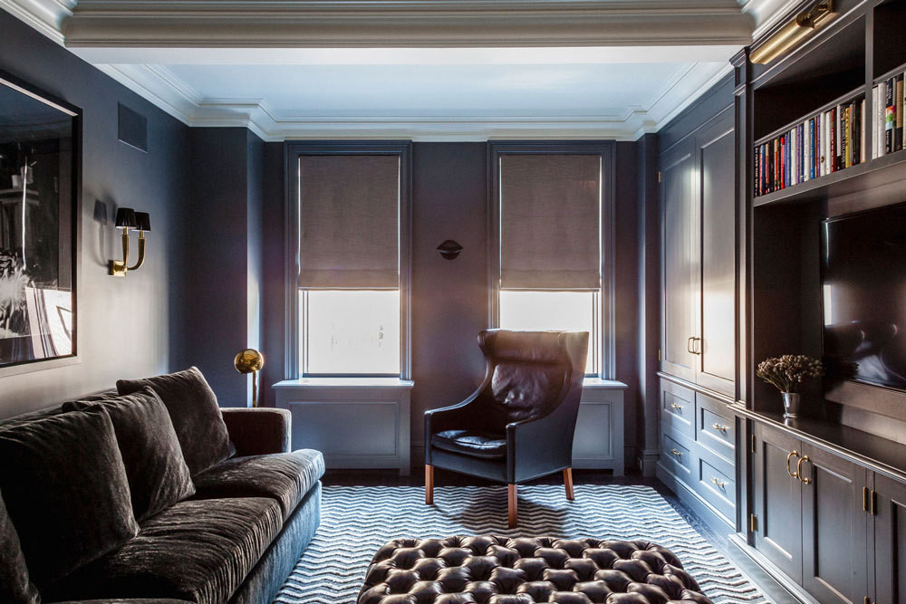 """Comforting, sexy, grounded, and strong"" is how Jennifer Vaughn Miller describes the palette of the den in her clients' Madison Avenue residence."