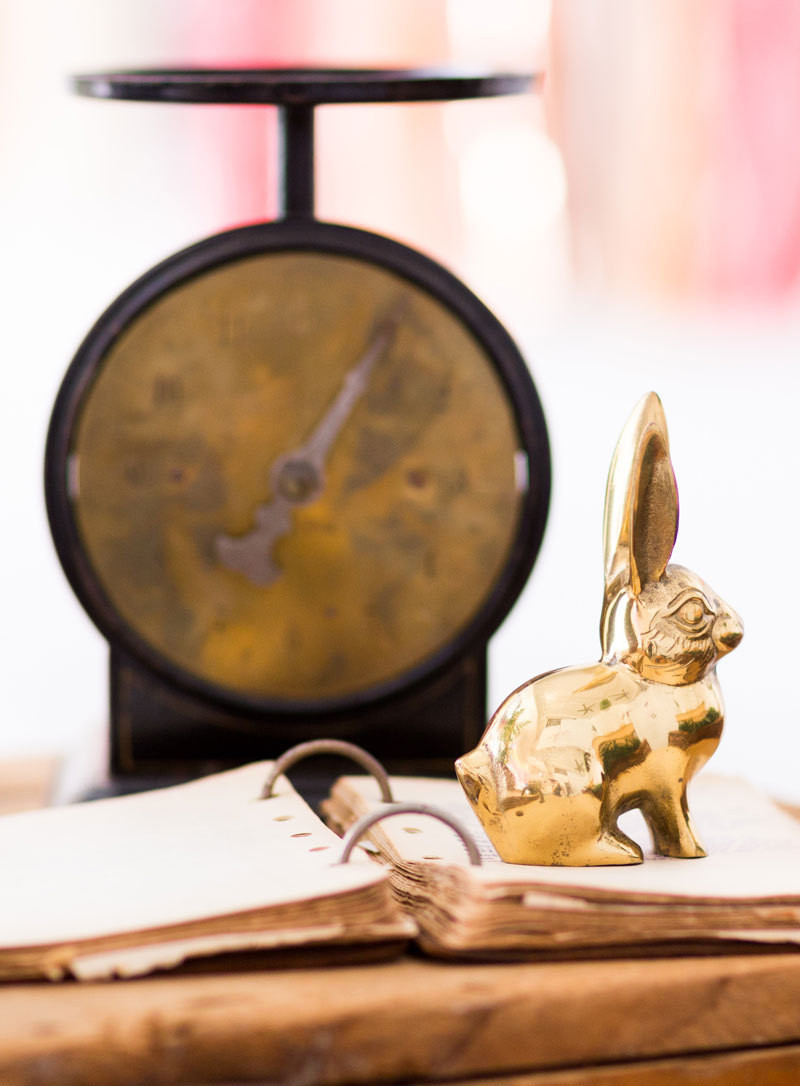 A brass rabbit and vintage scale as party decor: why not?