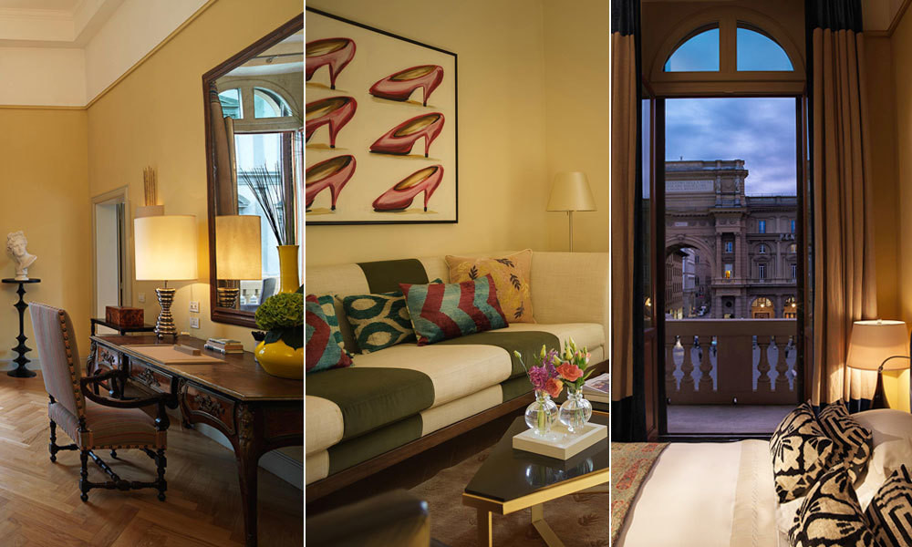 Breathtaking views of iconic Florentine landmarks are just beyond the windows of the historic hotel.