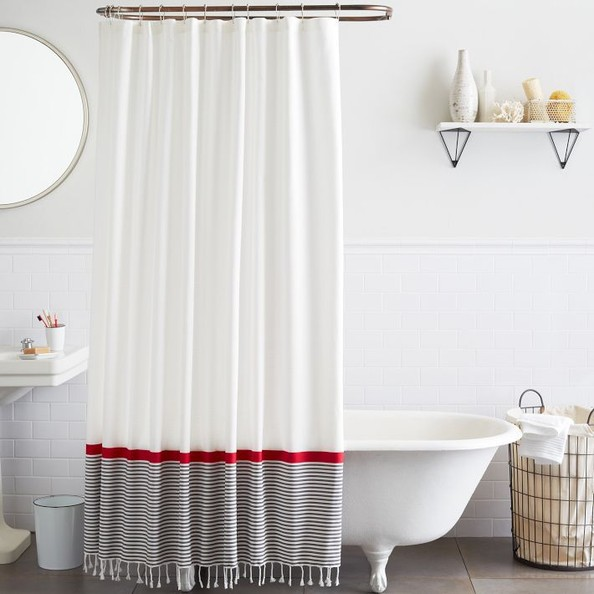 Stripe Border Shower Curtain By West Elm