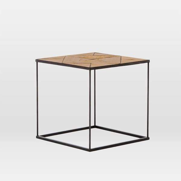 Faceted Wood Side Table