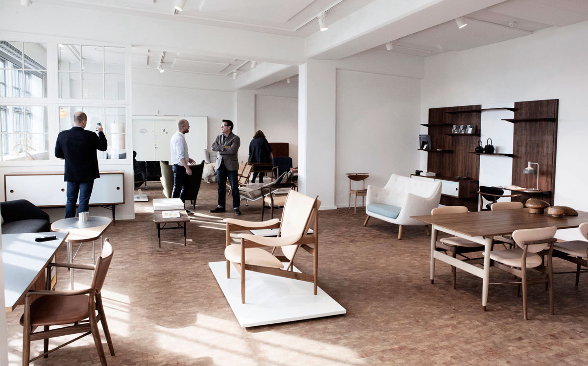 A collection of Danish Modern seating in the House of Finn Juhl showroom at Galleri Feldt in Copenhagen.